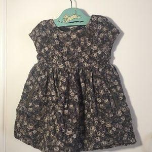 Baby Gap Corduroy Dress Grey Floral 2t